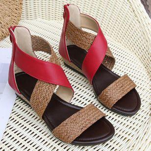 Women's Braided Strap Split Joint Heels Wedge Heel Sandals_4
