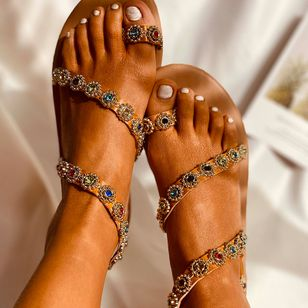 Women's Rhinestone Toe Ring Flat Heel Sandals_1