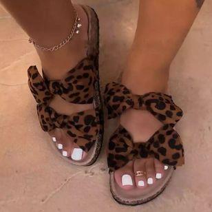 Women's Bowknot Flats Canvas Flat Heel Sandals_2