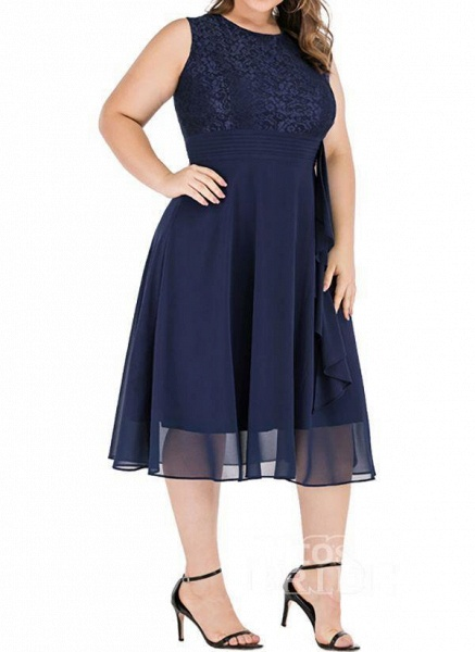 Dark Blue Plus Size Solid Round Neckline Casual Midi X-line Dress Plus Dress_2