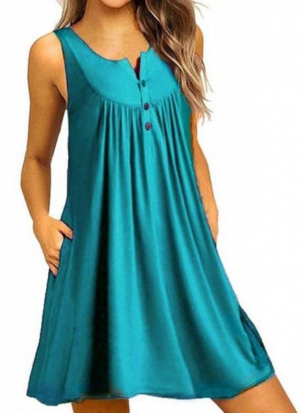 Royal Blue Plus Size Tunic Solid Round Neckline Casual Pockets Plus Dress_10