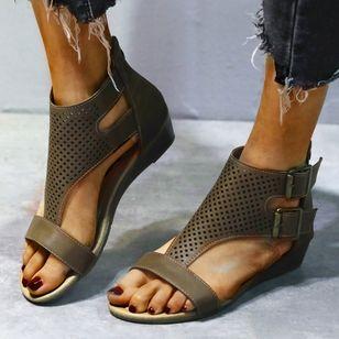 Women's Buckle Hollow-out Flats Flat Heel Sandals_6