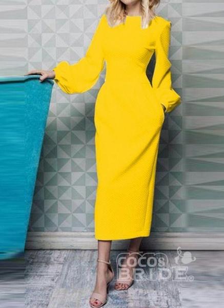 Black Casual Solid Pockets Pencil Sheath Dress_5
