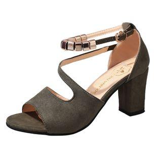 Women's Ankle Strap Peep Toe Nubuck Chunky Heel Sandals_7