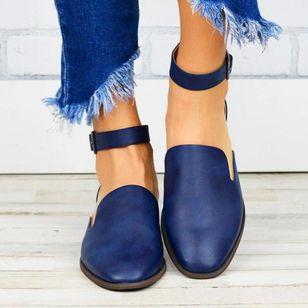 Women's Buckle Closed Toe Low Heel Sandals_6