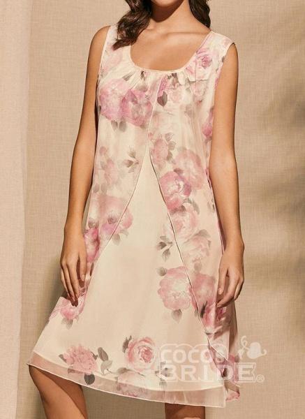 Apricot Plus Size Tunic Floral Square Neckline Basic Knee-Length Plus Dress_5