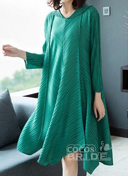 Dark Blue Plus Size Solid V-Neckline Casual Midi A-line Dress Plus Dress_5