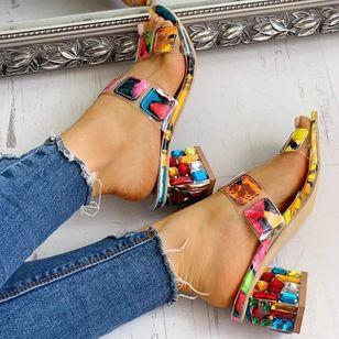 Women's Crystal Heel Slingbacks Chunky Heel Sandals_2