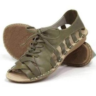Women's Lace-up Hollow-out Low Top Flat Heel Sandals_2