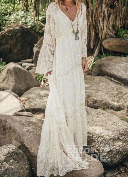 White Casual Solid Tunic V-Neckline Shift Dress_2