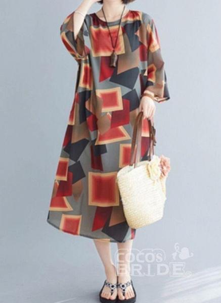 Multicolor Plus Size Tunic Color Block Round Neckline Casual Midi Plus Dress_4