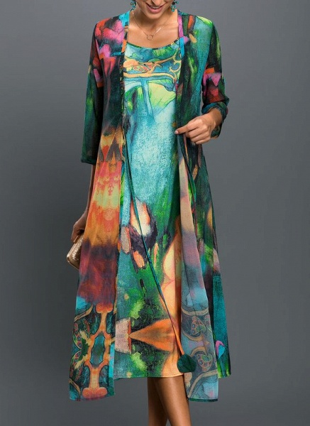Arabian Floral Wrap Tunic A-line Dress_3