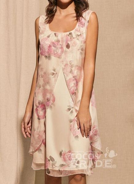 Apricot Plus Size Tunic Floral Square Neckline Basic Knee-Length Plus Dress_2
