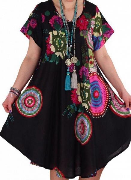 Black Plus Size Color Block Round Neckline Casual Knee-Length Shift Dress Plus Dress_1