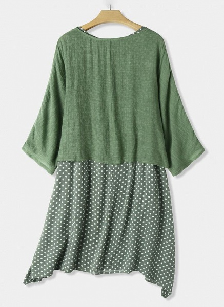 Casual Polka Dot Tunic Round Neckline Shift Dress_2
