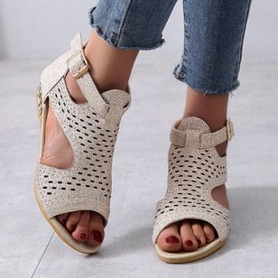 Women's Buckle Hollow-out Wedge Heel Sandals_3
