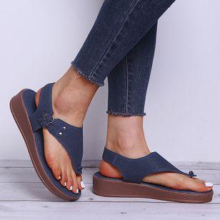 Women's Buckle Flip-Flops Flat Heel Sandals Platforms_5