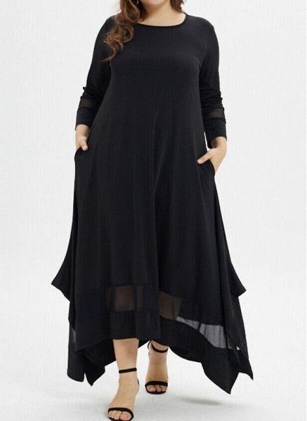 Black Plus Size Tunic Solid Round Neckline Casual Pockets Plus Dress_4