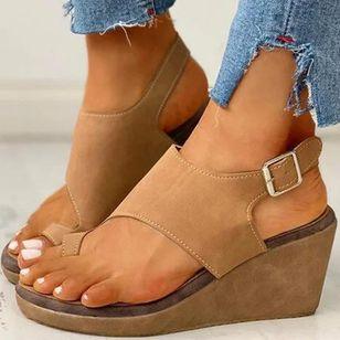 Women's Buckle Toe Ring Cloth Wedge Heel Sandals_2