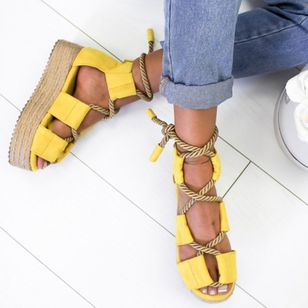Women's Lace-up Flats Cloth Flat Heel Sandals_2