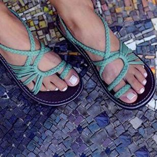 Women's Braided Strap Toe Ring Flat Heel Sandals_2