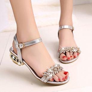 Women's Rhinestone Buckle Heels Low Heel Sandals_6