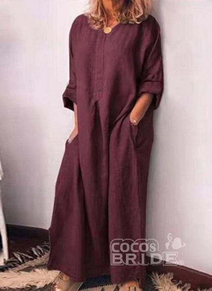 Gray Plus Size Pencil Solid V-Neckline Casual Pockets Plus Dress_2