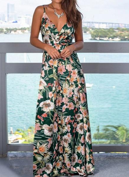 Elegant Floral Wrap Slip X-line Dress_13