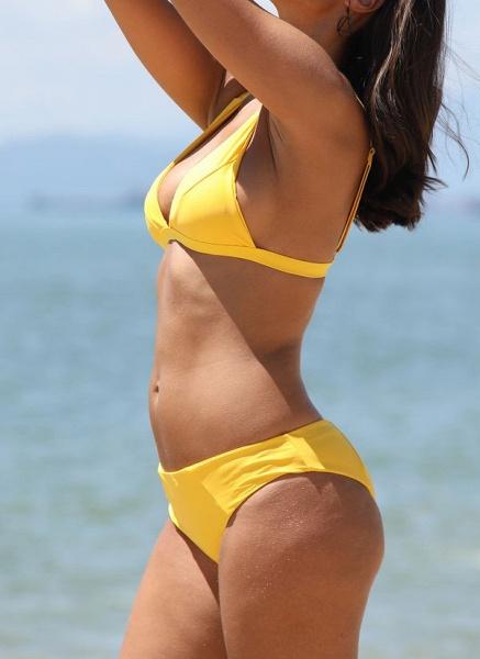 Spandex Nylon Solid Bikinis Swimwear_3