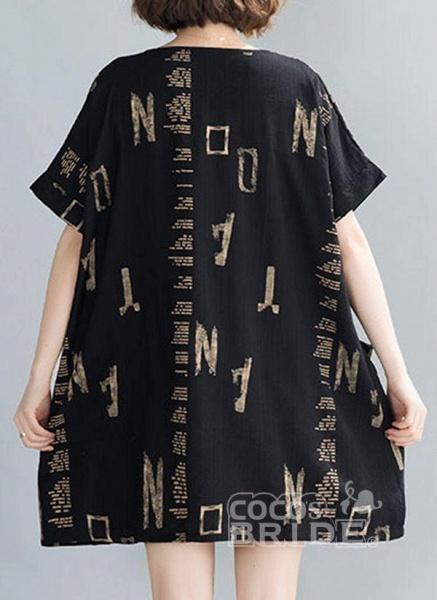 Black Plus Size Tunic Geometric Round Neckline Casual Pockets Plus Dress_2