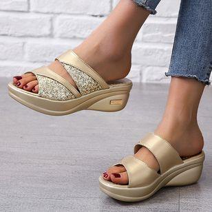 Women's Split Joint Peep Toe Wedge Heel Sandals_4