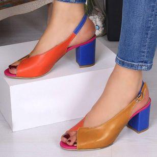 Women's Buckle Slingbacks Chunky Heel Sandals_5