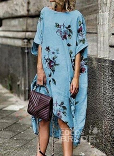 White Plus Size Tunic Floral Round Neckline Boho Midi Plus Dress_2