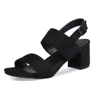 Women's Buckle Slingbacks Nubuck Chunky Heel Sandals_2