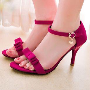 Women's Buckle Heels Nubuck Spool Heel Sandals_3