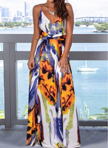 Elegant Floral Wrap Slip X-line Dress_14