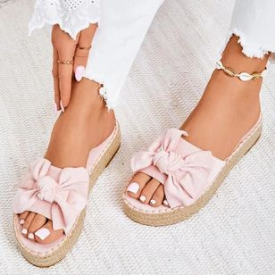 Women's Bowknot Flats Nubuck Flat Heel Sandals_1