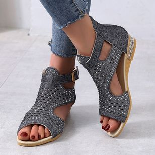 Women's Buckle Hollow-out Wedge Heel Sandals_2