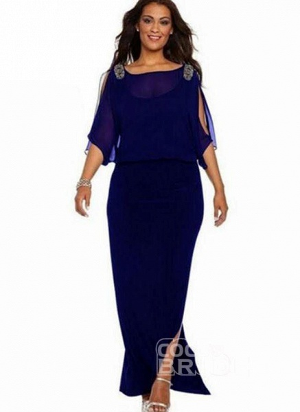 Blue Plus Size Solid Round Neckline Boho Maxi Sheath Dress Plus Dress_2