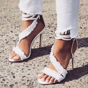 Women's Ruffles Lace-up Slingbacks Stiletto Heel Sandals_2