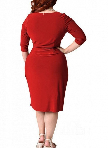 Red Plus Size Solid V-Neckline Casual Sashes Midi Plus Dress_2