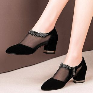 Women's Zipper Hollow-out Pointed Toe Fabric Chunky Heel Sandals_2