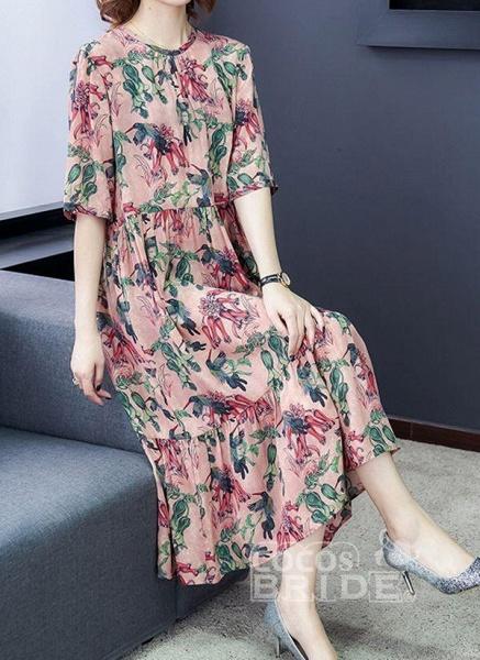 Rose Plus Size Floral Round Neckline Casual Ruffles Midi Plus Dress_3