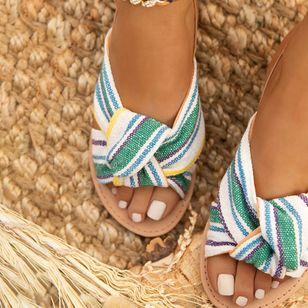 Women's Leopard Flats Low Top Denim Cloth Flat Heel Sandals_2