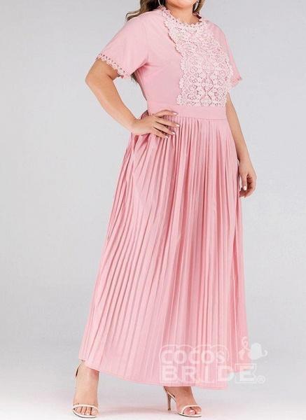 Pink Plus Size Solid Round Neckline Elegant Lace Maxi Plus Dress_3
