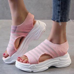 Women's Mesh Round Toe Fabric Flat Heel Sandals_3