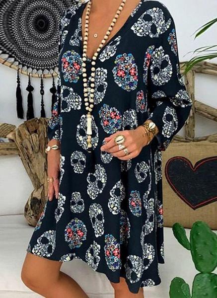 Blue Plus Size Tunic Geometric V-Neckline Casual Knee-Length Plus Dress_4