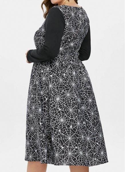 Black Plus Size Color Block Round Neckline Casual Ruffles Knee-Length Plus Dress_1