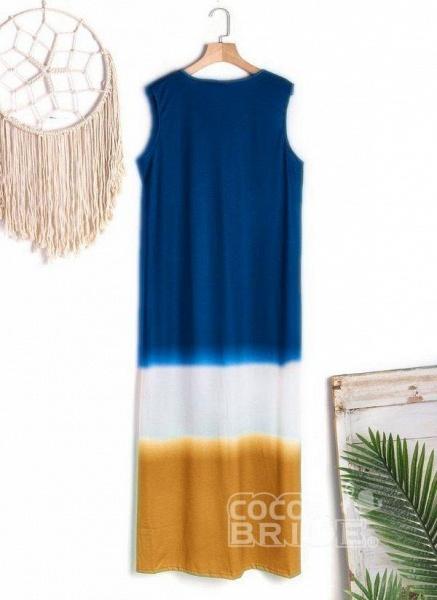 Gray Casual Color Block Tunic V-Neckline Shift Dress_3