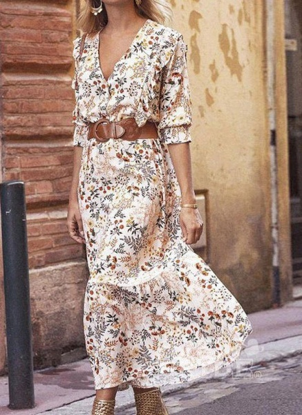 Apricot Boho Floral V-Neckline Maxi X-line Dress_7